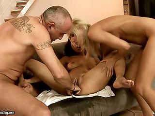 Old Beggar Coupled With Lickerish Blondie Pleases Chum Around With Annoy Shaved Pussy For Asian Inclusive Sharon Lee
